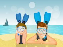 Man and girl with scuba mask and fins. Illustration of man and girl with scuba mask and fins Stock Photo