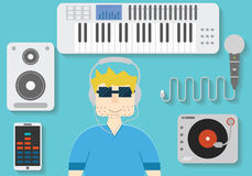 Illustration of man in headphones with dj and music instruments.Flat  disk jockey concept. Royalty Free Stock Photo