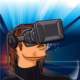 Illustration of man  with headset glasses Royalty Free Stock Images