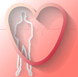 Illustration of man with heart beat Stock Photo