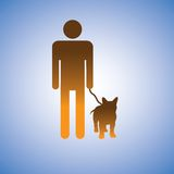 Illustration of man and his best friend - dog Royalty Free Stock Image