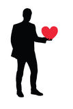 Illustration of a man holding a heart. Illustration of a full length portrait of a man holding a heart shaped object isolated on white background vector illustration