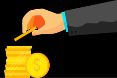 Illustration for man invest his money (dollar golden coin) Royalty Free Stock Photo