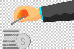 Illustration for man invest his money (dollar silver coin). Vector illustration for man invest his money (dollar silver coin) at transparent effect background Royalty Free Stock Images