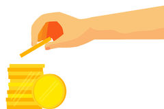 Illustration for man invest his money (Golden Blank Coin) Stock Image