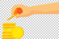 Illustration for man invest his money (Golden Blank Coin) Royalty Free Stock Image