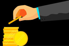 Illustration for man invest his money (Golden Blank Coin) Stock Images