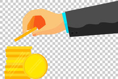 illustration for man invest his money (Golden Blank Coin) Royalty Free Stock Photography