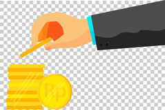 Illustration for man  invest his money (golden rupiah coin) Stock Images