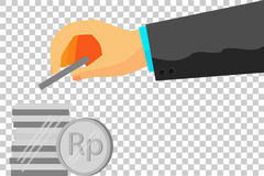 Illustration for man invest his money (rupiah silver coin). Vector illustration for man using tuxedo invest his money (rupiah silver coin) at transparent effect Royalty Free Stock Photography