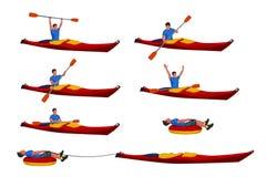Man in kayak set 02 Royalty Free Stock Image