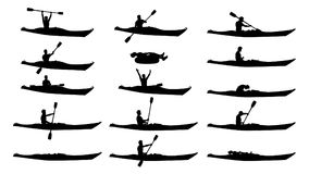 Man in kayak silhouette set Royalty Free Stock Photos