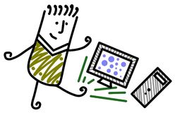 Pc kick. Illustration of a man kicking a computer monitor and its central processing unit Stock Images