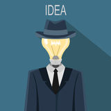 Illustration of man with a light bulb instead head Stock Images