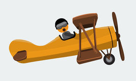 Illustration of a man pilot riding on a vintage plane. Flat color Stock Image