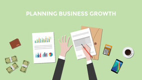 Illustration of a man planning business growth with paperworks, calculator and money on top of table Stock Photo