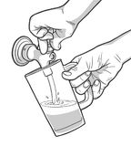 Illustration of man pouring draft beer Stock Photo