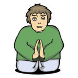 Illustration of a man pray to God from Royalty Free Stock Photo