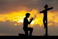 Illustration of man prayer. At sunset royalty free stock image