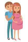 Illustration of Man with Pregnant Woman Stock Image