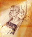 Illustration of a man in profile and a pistol Royalty Free Stock Images