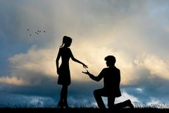 Man propose to woman. Illustration of man propose to girl at sunset Stock Photography