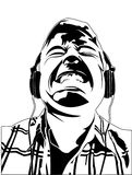 Illustration Of Man Rocking Out. Vector illustration of man with headphones Vector Illustration