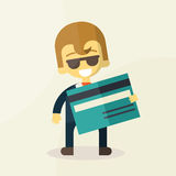 Illustration of man showing credit card Stock Image