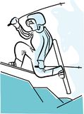 Illustration of man skiing. vector illustration