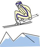 Illustration of man skiing. royalty free illustration