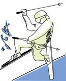 Illustration of man skiing. stock illustration