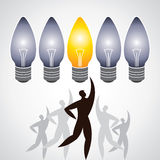 Illustration of man surround with idea bulbs. Man get idea concept Royalty Free Stock Photography