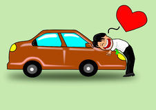 The Illustration about a man who bought the first car. Stock Photo