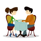 Illustration of a Man and Woman Asking Each Other Questions at a Speed Dating Event Royalty Free Stock Photos