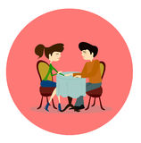 Illustration of a Man and Woman Asking Each Other Questions  Royalty Free Stock Photo