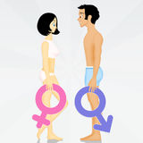 Man and woman with male and female symbols. Illustration of man and woman with male and female symbols Stock Photography
