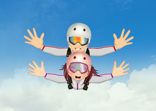 Man and woman with parachute Stock Photo