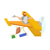 Illustration of a man in a yellow plane behind which suitcases stretch on ropes Stock Image