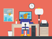 Illustration of a manager working in the office. Flat design stylish vector illustration of manager working with computer in modern office workspace Stock Photography