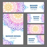 Mandala pattern design template. May be used for Business card or booklet, banner, book cover.  illustration. stock photos