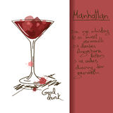 Illustration with Manhattan cocktail. Illustration with hand drawn Manhattan cocktail Royalty Free Stock Images