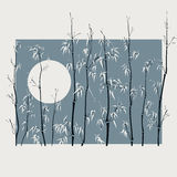 Illustration with many bamboo in asian style. Stock Photography