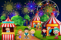 Many Children and people worker having fun in amusement park at night. Illustration of Many Children and people worker having fun in amusement park at night Stock Photography
