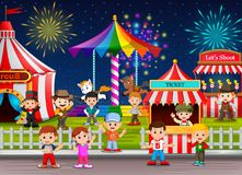 Many Childrens and people worker having fun in amusement park at night. Illustration of Many Childrens and people worker having fun in amusement park at night stock illustration