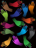 Illustration of many colorful female hands Royalty Free Stock Image