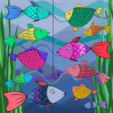 Illustration of many fish. Illustration of many fish and fish hook in Risk concept,Vector Royalty Free Stock Images