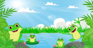 Illustration of many frog playing in the river Stock Images