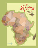 Illustration of the map of Africa in the style polygon graphics. imitation vintage political map of Africa. Stock Photography