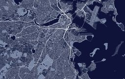 Map of the city of Boston, USA. Illustration map of the city of Boston, USA stock illustration