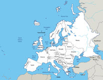 Illustration - map of the Europe - eps Stock Photography